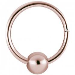Anneau fermé avec segment à clip et boule acier or rose ORBHBCR