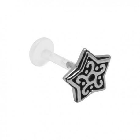 Labret Bioflex ® étoile avec motif acier à clipper BOLBSS 12