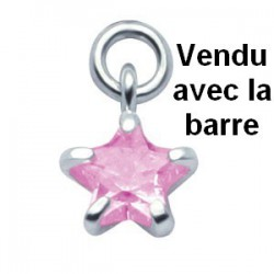 Labret Bioflex ® brillant pendant forme étoile argent 925 à clipper BOLBKT 3
