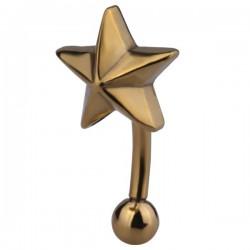 Barre pliée 1,2 mm acier doré or fin motif en forme d'étoile GPMBN 04