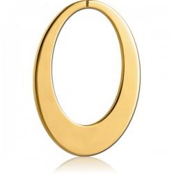Accessoire forme ovale pour tunnel oreille acier doré or fin gros diamètre GPTNA 06