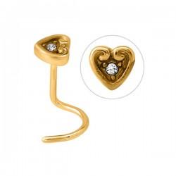 Bijou piercing nez plat motif coeur avec strass serti tige tire-bouchon acier doré or fin GPJNO 02