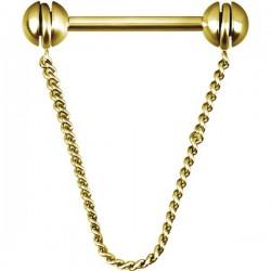 Bijou téton pendant chaine - barre 1,6 mm acier doré or fin GPSNS03