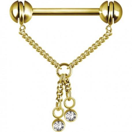 Bijou téton pendant chaine avec 2 strass - barre 1,6 mm acier doré or fin GPSNS 04