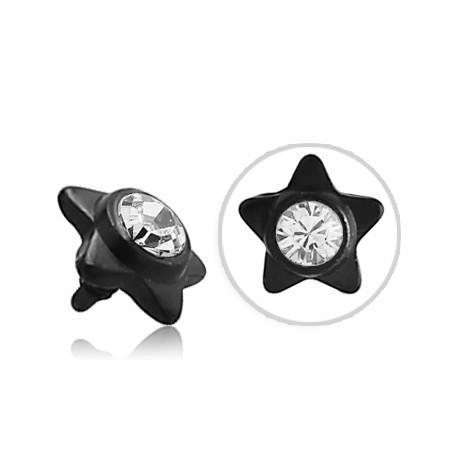 Embout étoile noir avec brillant pour micro dermal titane G23 BKINJS