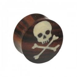 Plug incurvé motif tête pirate oreille corne gros diamètre IPN 19