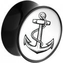 Plug avec motif ancre marine acrylique gros diamètre PLFPG15