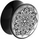 Plug incurvé avec motif mandala acrylique gros diamètre PLFPLG12