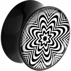Plug incurvé avec motif fleur effet stroboscope acrylique gros diamètre PLFPLG13