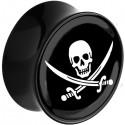 Plug incurvé avec motif tête de mort pirate acrylique gros diamètre PLFPG16
