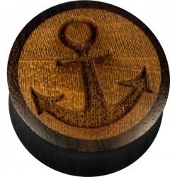 Plug incurvé sculpté ancre marine oreille bois gros diamètre IPW 17