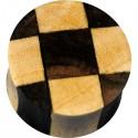 Plug incurvé sculpté damier oreille bois gros diamètre IPW 18