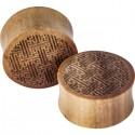 Plug incurvé sculpté celtique oreille bois gros diamètre IPW 27