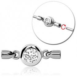 Accessoire avec un brillant blanc pour bijou pour industriel à visser en acier 316L IND 12