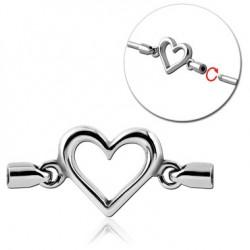 Accessoire motif coeur pour bijou pour industriel à visser en acier 316L IND 14