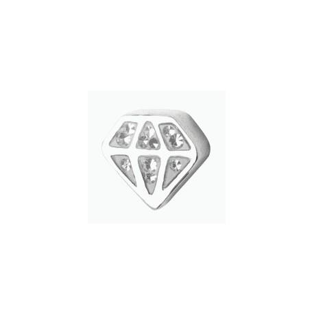 Embout motif cristal diamant acier 316L Crystal Line avec strass en cristal swarovski BCJA 05