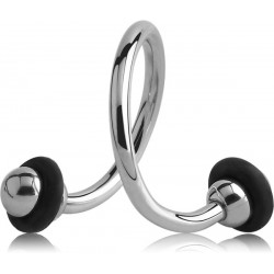 Anneau ouvert spirale avec 2 boules avec anneau silicone à visser acier 316L 1,2 mm MSPOB