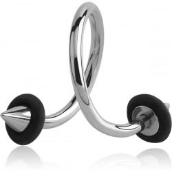 Anneau ouvert spirale avec 2 pics avec anneau silicone à visser acier 316L 1,2 mm MSPOC