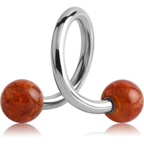 Anneau ouvert spirale acier 316L avec 2 boules ambre à visser 1,6 mm AMSP