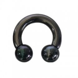 Anneau ouvert fer à cheval avec 2 boules, acier noir, gros diamètre BKCBG