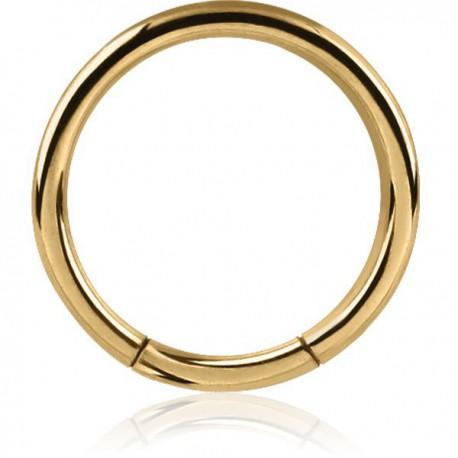 Anneau fermé avec segment à clipper acier doré or fin 1,6 mm GPBCS