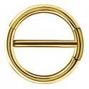 Bijou téton avec contour anneau - barre 1,6 mm acier doré or fin GPSNC 15
