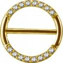 Bijou téton avec contour anneau 16 strass- barre 1,6 mm acier doré or fin GPSNC 16