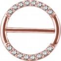 Bijou téton avec contour anneau 16 strass- barre 1,6 mm acier or rose ORSNC 16