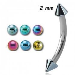 Barre pliée 1,2 mm acier coloré anodisé pics ou cones INMBNAC