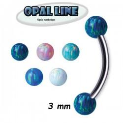 Barre pliée 1,2 mm titane G23 boules opale synthétique TMBNOP