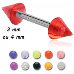 Barre droite 1,2 mm acier 316L pics ou cones acrylique U.V. MBLUC