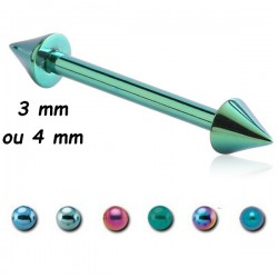 Barre droite 1,2 mm titane coloré anodisé pics ou cones ATMBLC