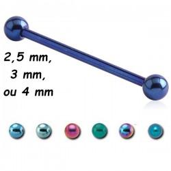 Barre droite 1,2 mm titane coloré anodisé boules ATMBL