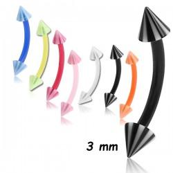 Barre pliée flexible 1,2 mm pics rayés acrylique U.V. MBNFUMSC