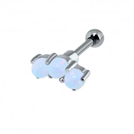 Bijou pour l'oreille acier 316L avec 3 strass en opale avec monture argent 925 TIP 2251