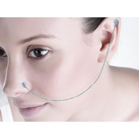Bijou piercing nez cartilage avec chaine en acier et motifs ethniques en argent TIPN 05