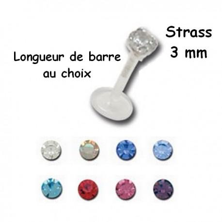 Labret Bioflex ® brillant 3 mm serti argent 925 à clipper BOLBJS 14