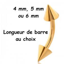 Bijou nombril acier doré or fin pics GPBNC