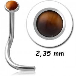 Bijou piercing nez plat pierre synthétique oeil de tigre tige tire-bouchon acier 316L JNOSE TIG