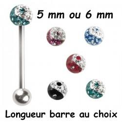 Bijou langue acier 316 L boule dessin ying yang, Crystal Line avec strass en cristal swarovski BLYYCJB