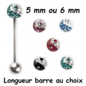 Bijou langue acier 316 L boule dessin yin et yang, Crystal Line avec strass en cristal swarovski BLYYCJB