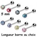 Bijou langue acier 316 L boule Crystal Line avec strass en cristal swarovski BLCJB 09