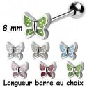 Bijou langue acier 316 L motif papillon, Crystal Line avec strass en cristal swarovski BLCJA 01