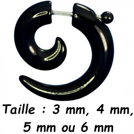 Faux écarteur spirale noir pour l'oreille acier 316L FUCL 27 BK