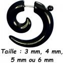 Faux écarteur spirale noir pour l'oreille acrylique FUCL 27 BK