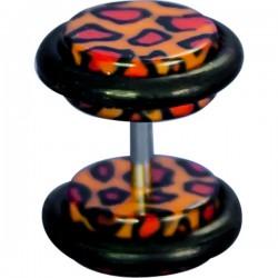 Faux plug tacheté léopard pour l'oreille acrylique FUPL 26