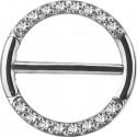 Bijou téton avec contour anneau 16 strass- barre 1,6 mm acier 316L SNC 17