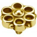 Embout motif fleur acier doré or fin pour barre 1,2 mm avec pas de vis interne 0,8 mm GPIA07