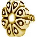 Embout motif fleur acier doré or fin pour barre 1,2 mm avec pas de vis interne 0,8 mm GPIA06