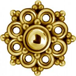Embout motif fleur acier doré or fin pour barre 1,2 mm avec pas de vis interne 0,8 mm GPIA04